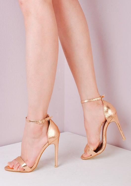a0157ce7ef6 Strapped Barely There Heeled Sandals Rose Gold