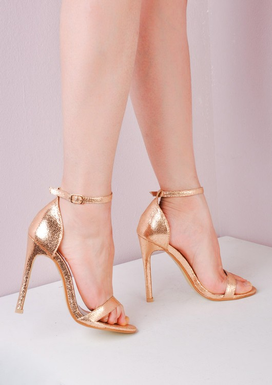Strapped Barely There Heeled Sandals Rose Gold