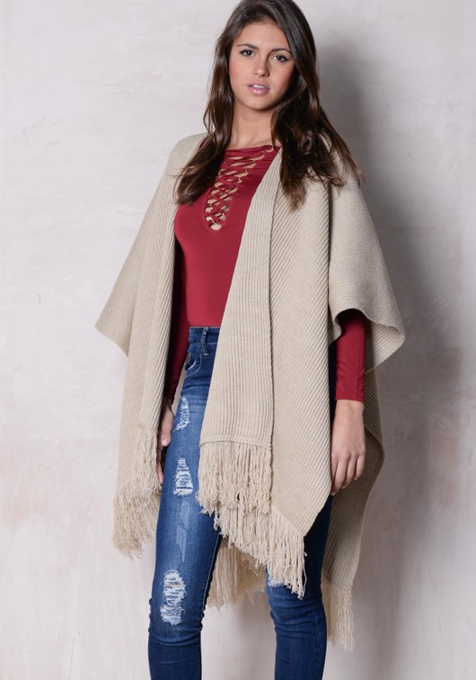 Throw On Fringed Knitted Cape Beige
