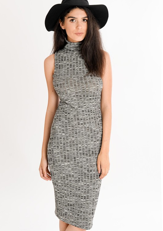 Tia Basic Roll Neck Midi Dress Grey