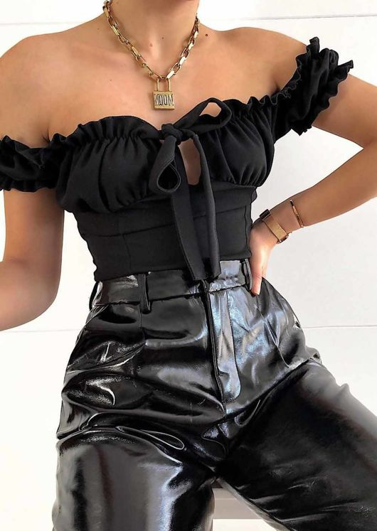 Tie Front Ruffle Bardot Crop Top Black