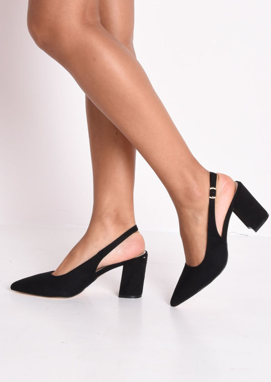 Slingback Suede Court Block Heeled Sandals Black