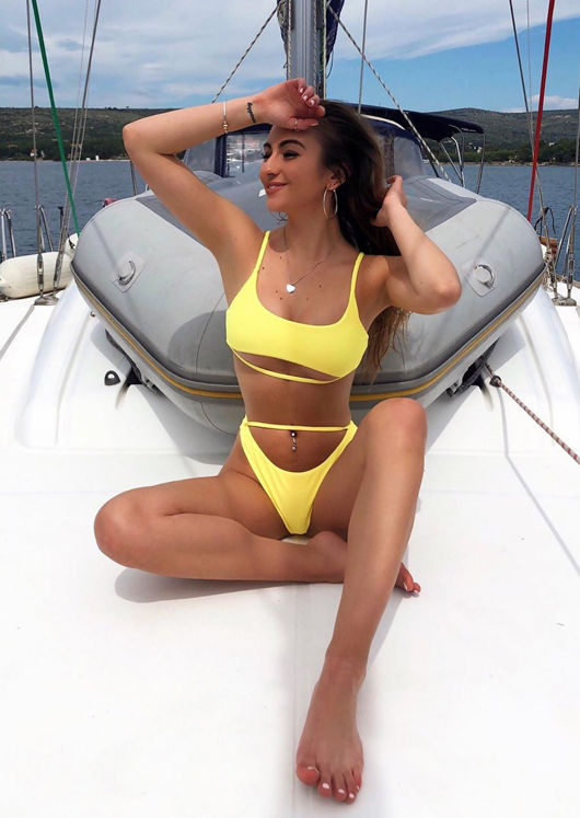 Under Bust Strap Bikini Top and Bottom Set Yellow