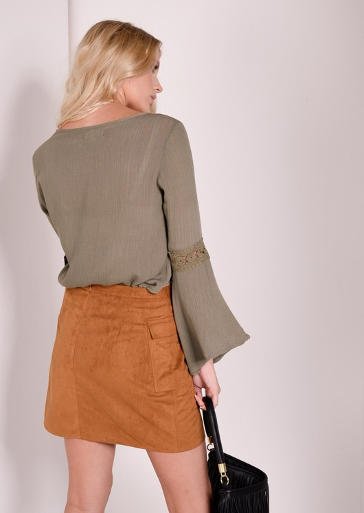 Urania Khaki Gypsy Crop Top