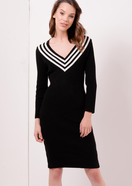 V Neck Midi Jumper Dress Black Dru | Lily Lulu Fashion