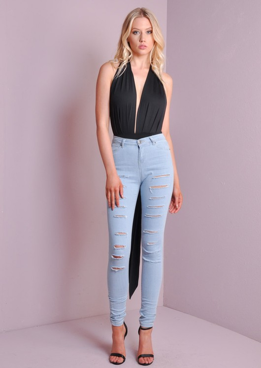 V-Neck Multiway Bodysuit Black
