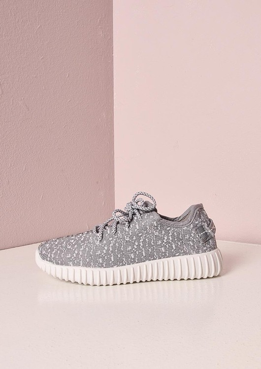 White Textured Trainers Ribbed Sole