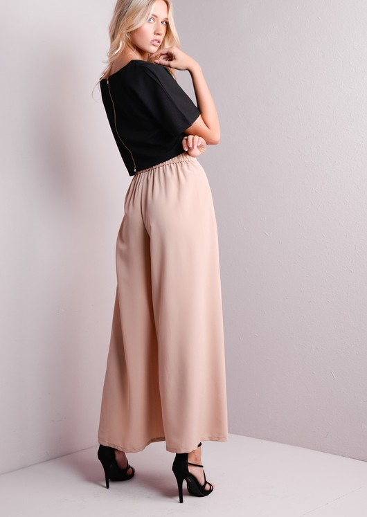 Wide Leg Side Split Trousers Nude