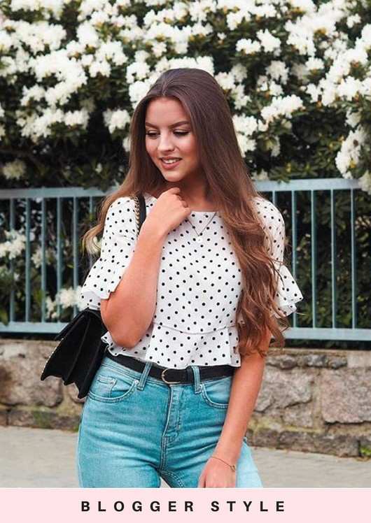 Polka Dot Cropped Peplum Frill Top White