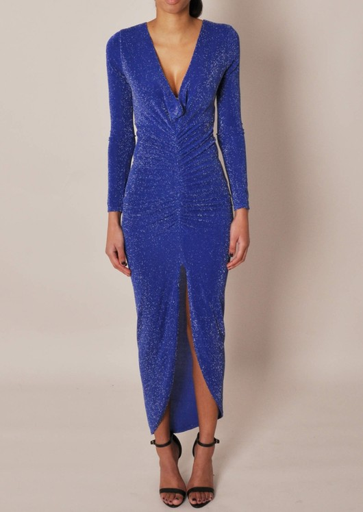Adriana Blue Plunge Midi Dress