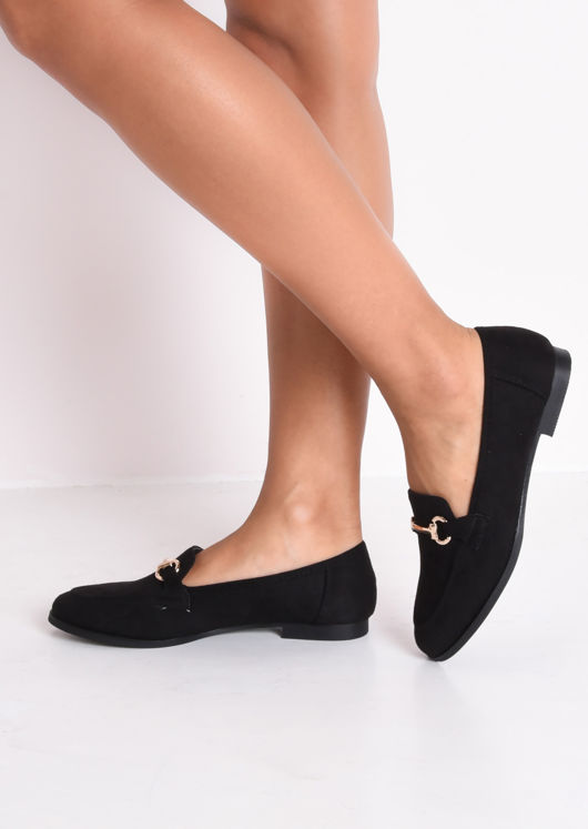 Faux Suede Snaffle Detail Loafer Flat Shoes Black