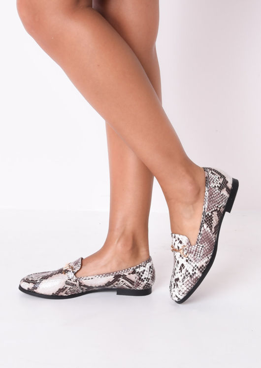 Snake Print Snaffle Detail Loafer Flat Shoes Multi