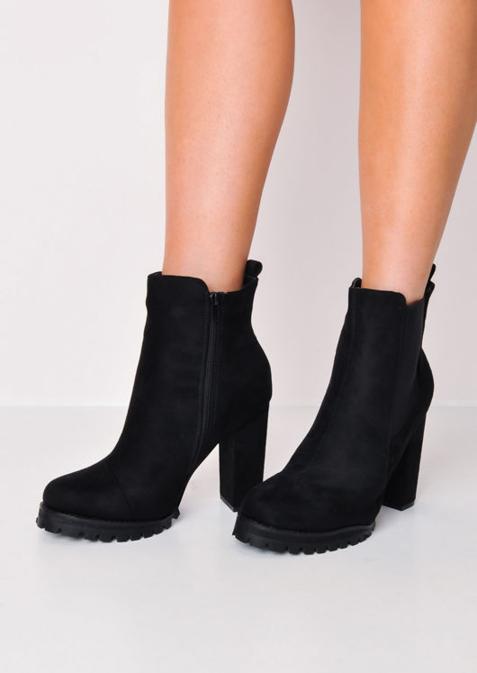 Cleated Sole Chunky Block Heel Chelsea Suede Boots Black