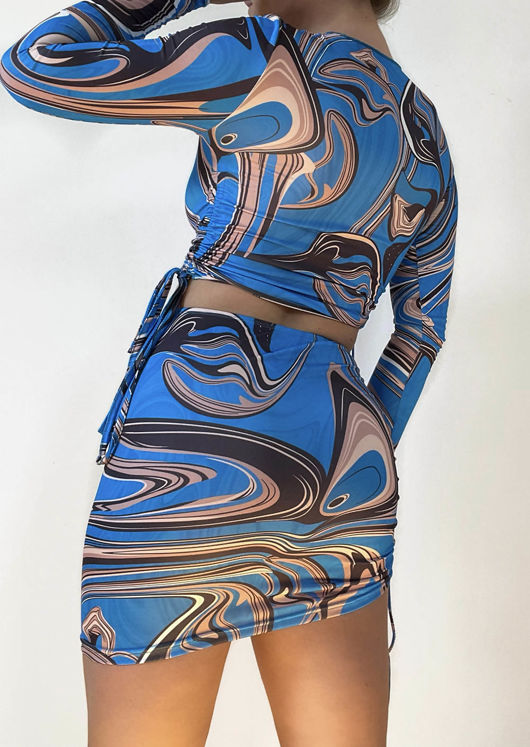 Abstract Print Side Ruched Crop Top And Front Ruched Mini Skirt Co-Ord Set Blue
