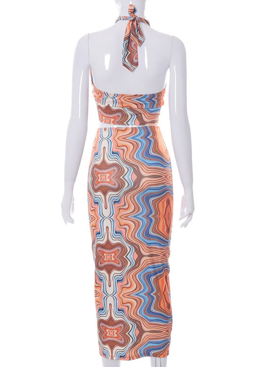 Abstract Halterneck Crop Top And High Waist Midi Skirt Co-Ord Set Brown