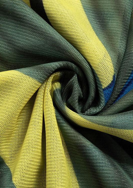 Abstract Leaf Print Mesh Bodysuit And Slinky Wrap Over Mini Skirt Co-Ord Set Multi
