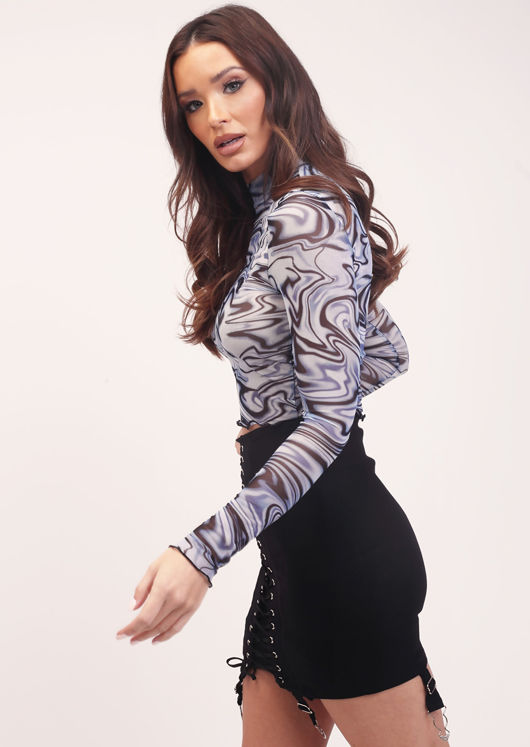 Marble Print Frilled Long Sleeve Mesh Crop Top Blue