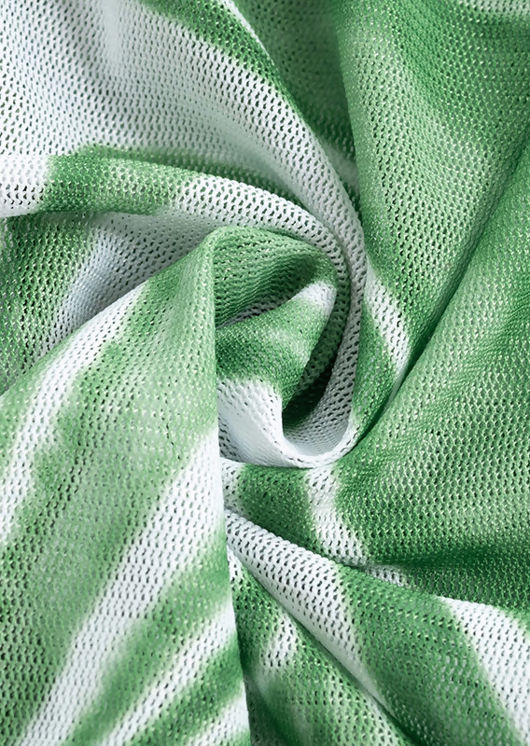 Abstract Print Mesh Cut Out Bandeau Mini Bodycon Dress Green