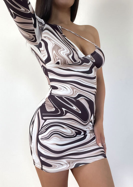 Abstract Print One Shoulder Cut Out Mini Dress Brown