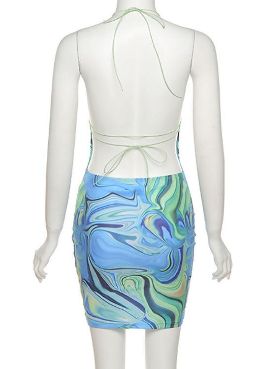 Abstract Slinky Halterneck Open Back Tie Mini Dress Blue