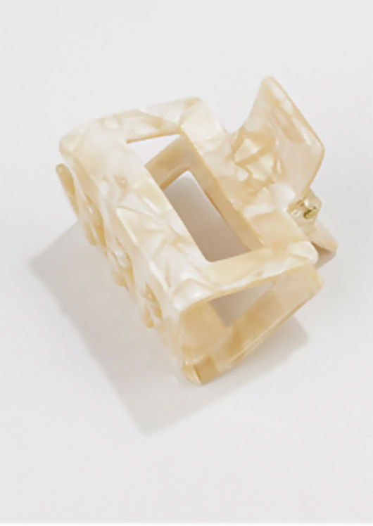 Acrylic Marble Textured Cut Out Mini Hair Claw Beige