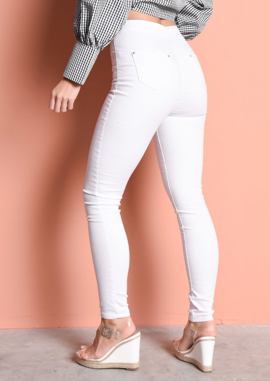 High Waisted Super Skinny Tube Jeans White