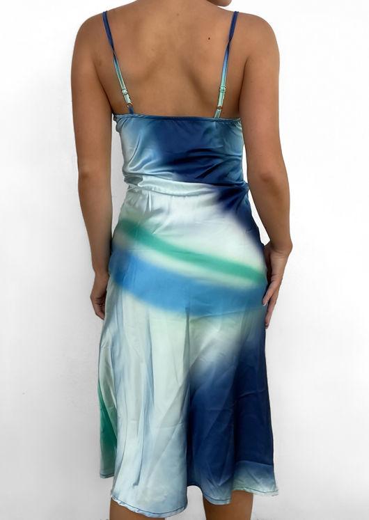 Satin Cowl Neck Gradient Cami Midi Slip Dress Blue