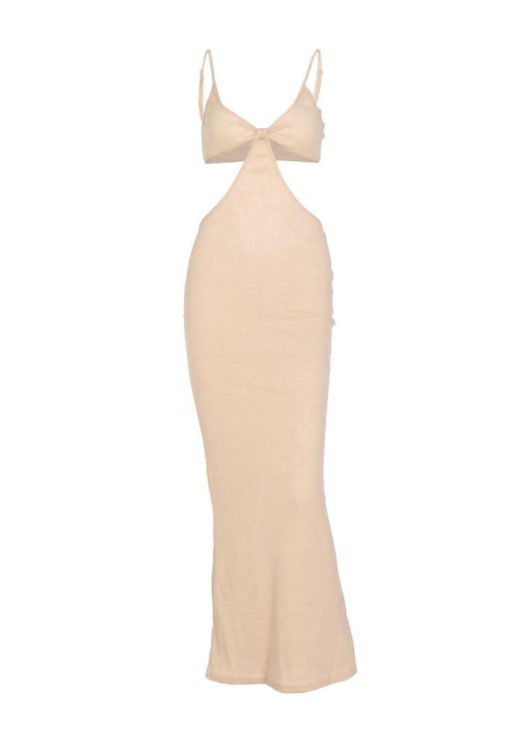 Adjustable Strapped Side Cut Out Maxi Bodycon Dress Beige
