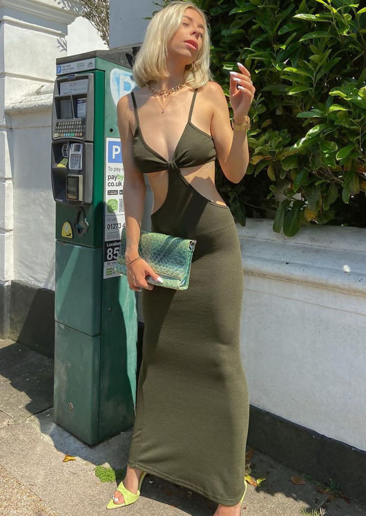 Adjustable Strapped Side Cut Out Maxi Bodycon Dress Green