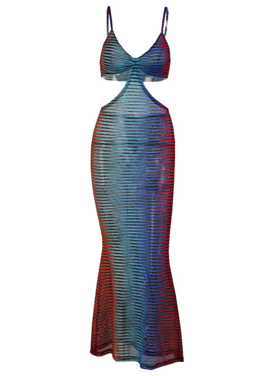 Adjustable Strapped Side Cut Out Maxi Bodycon Dress Multi