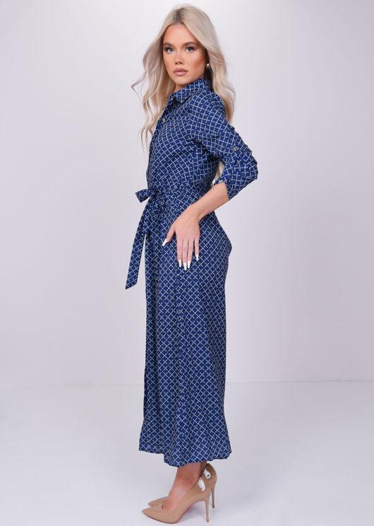 Printed Long Sleeves Shirt Button Down Midi Dress Blue