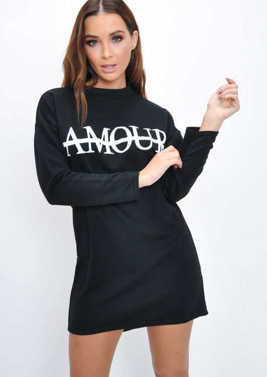 Amour Slogan Dip Hem Sweatshirt Jumper Black
