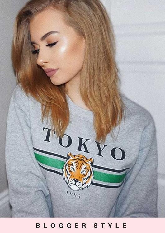 Tokyo Tiger Slogan Long Sleeve Sweatshirt Jumper Grey