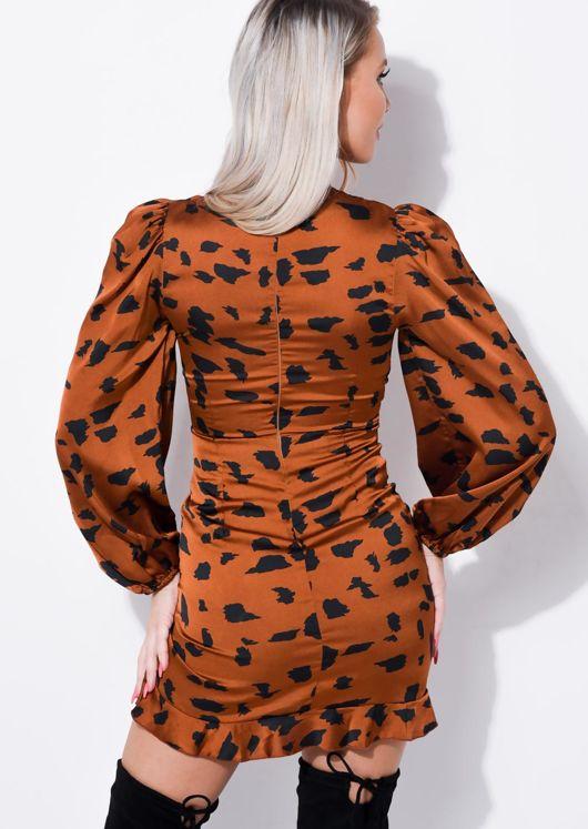 Dalmatian Animal Print Frill Ruched Mini Dress Brown