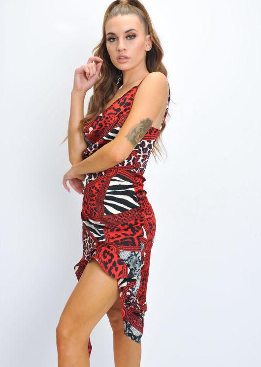 Animal Print Cowl Neck Frill Slit Dress Red