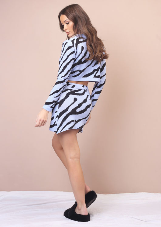 Animal Print Knitted Cropped Cardigan Mini Skirt Co-Ord Set Blue