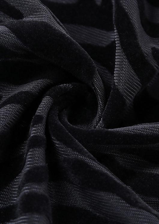 Animal Print Mesh Long Sleeve Bodysuit Black