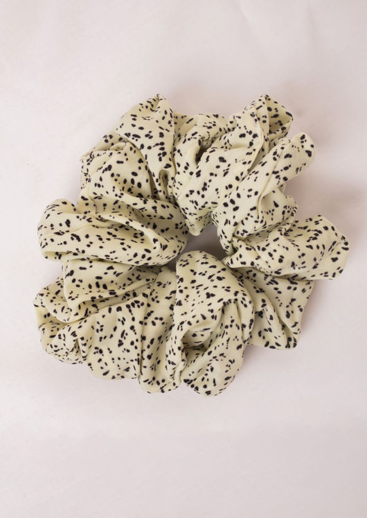 Dot Print Scrunchie Hair Tie Beige