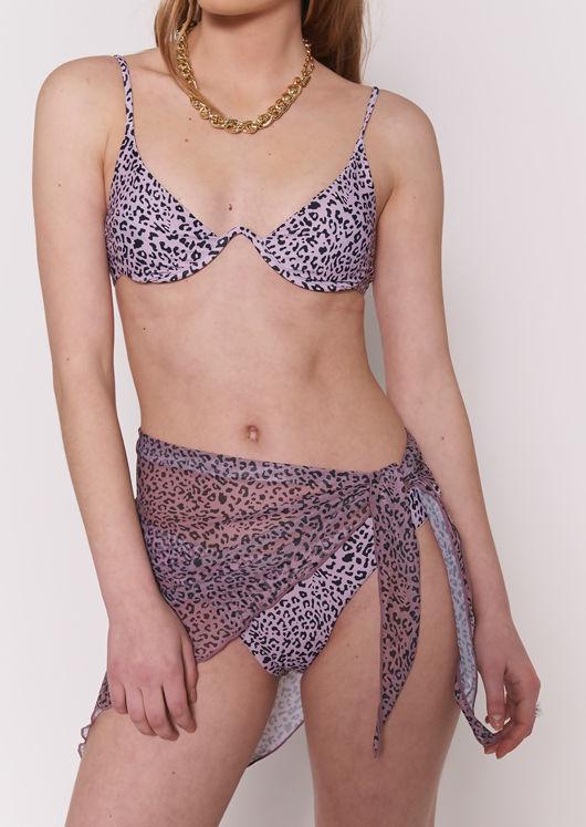 Animal Print Bikini Top Bottom Wrap Over Mesh Skirt 3 Piece Set Pink