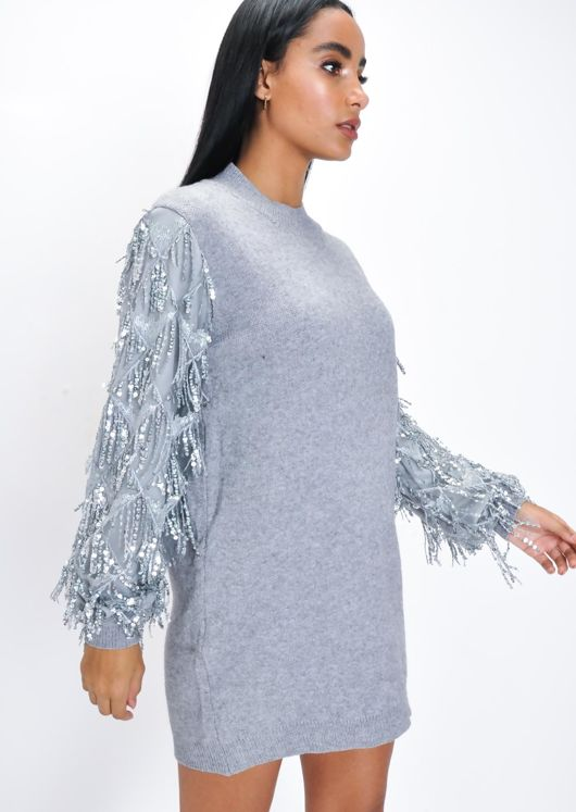 Sequin Sleeve Longline Knit Jumper Grey