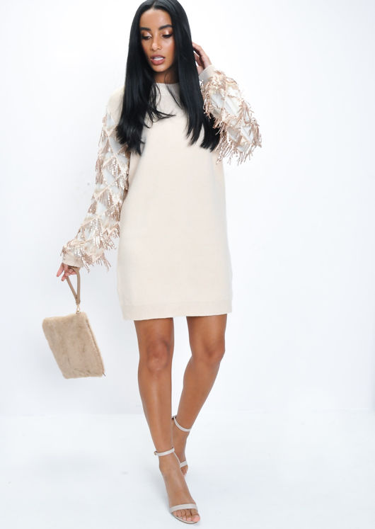 Sequin Sleeve Longline Knit Jumper Beige