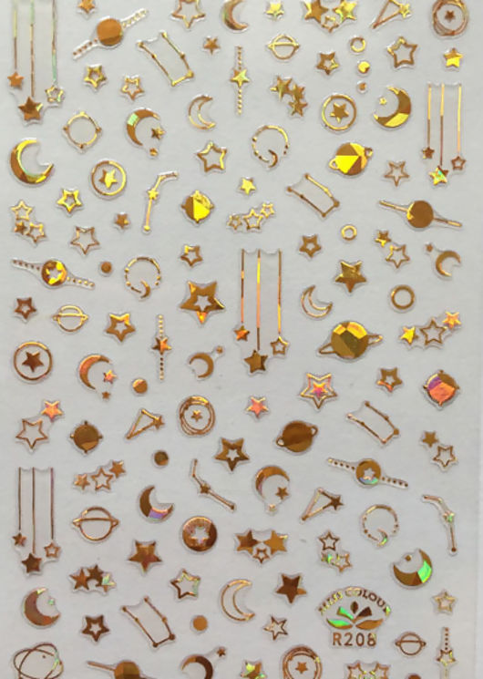 Assorted Constellation Nail Art Stick On Stickers Pack Gold