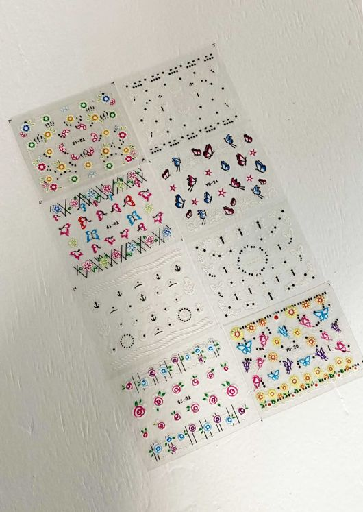 Assorted Coloured Floral Nail Art Stick On Stickers Pack Multi