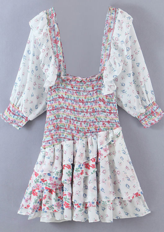 Asymmetric Floral Patterned Frill Tiered Mini Dress White