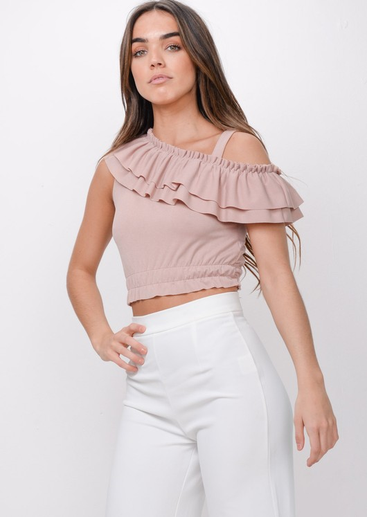 Asymmetric Frill Crop Top Pink