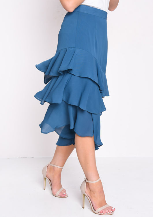 Asymmetric Frill Hem High Waisted Midi Skirt Blue