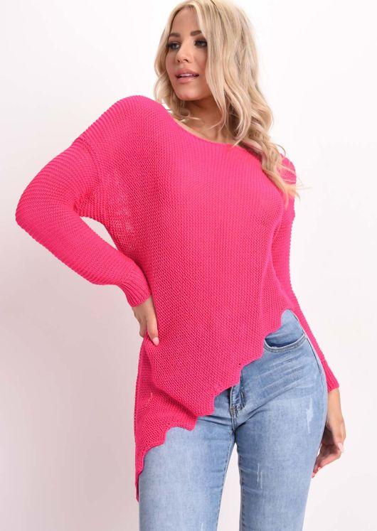 Asymmetric Knit Jumper Fuchsia Pink
