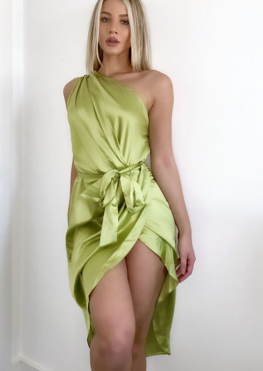 Asymmetric Off Shoulder Belted Satin Wrap Over Maxi Dress Green
