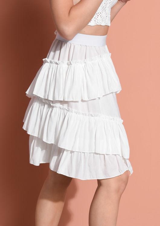Asymmetric Tiered Ruffle Hem Mini Skirt White