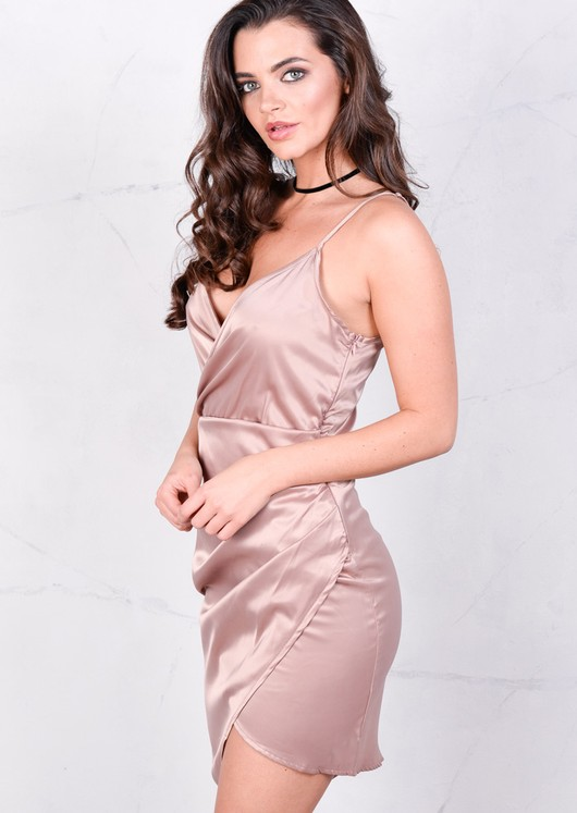 Asymmetric Wrap Plunge Neck Midi Bodycon Dress Pink Nude